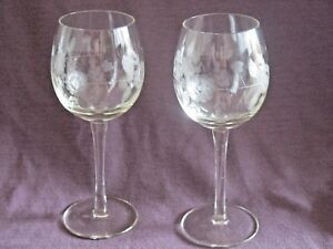 Two (2) Gray Cut Floral Tall Wine Glasses Vine of Flowers & Leaves