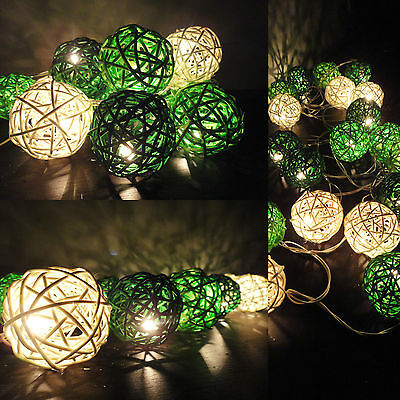 20 Mixed Green Lantern Tone Handmade Rattan Balls Fairy String Lights Home Decor