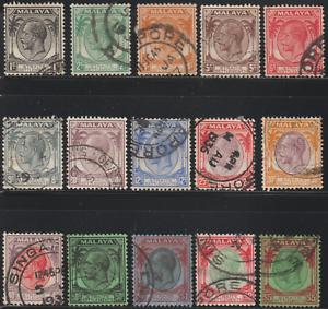 MALAYSIA-MALAYA-STRAITS-SETTLEMENTS-1936-SET-OF-15V-TO-5-USED-CAT-RM-150