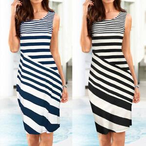 Women-039-s-Sleeveless-Working-Dresses-Pencil-Stripe-Party-Dress-Casual-Mini-Dresses