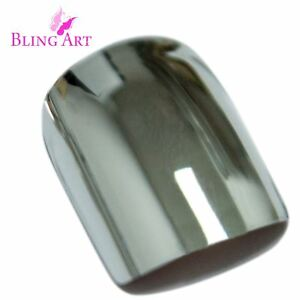 False-Nails-Silver-Chrome-French-Squoval-Medium-Bling-Art-Acrylic-Tips-2g-Glue