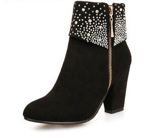 Épaisses Talons Hauts Bottes Automne Cristal Décontracté Chaussures Style Hiver Bottine q1pHEw