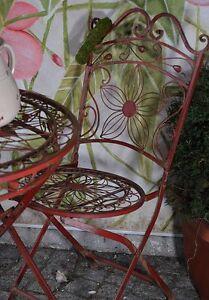 Chaise Jardin Metal Fer Forge Fauteuil Bordeaux Rustique Vintage ...