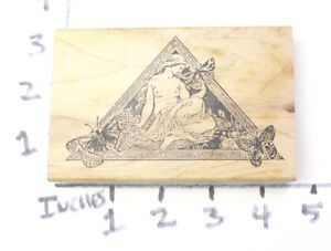Wooden-RUBBER-STAMP-Block-Art-Nuevo-Woman-Butterflies-Nude