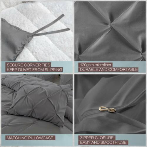 Zipper Closure Laura/'s Lace 3 Piece Pintuck Pinch Pleated Duvet Cover