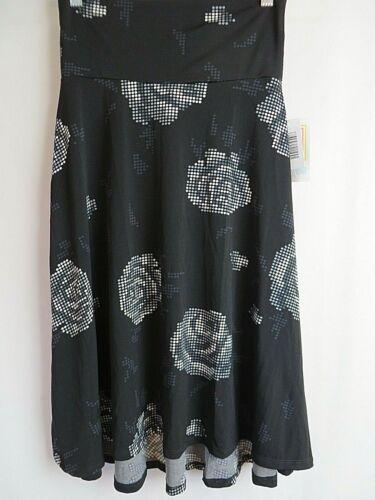 LuLaRoe Azure Skirt Black White Gray Rose Pixel Print Size XS  #8955