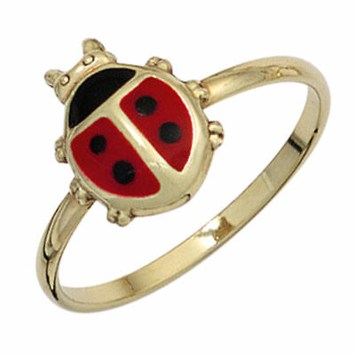 Modestil Kinderring Ring Marienkäfer Aus 333 Gold Gelbgold Schwarz Rot Lackiert, Goldring Reichhaltiges Angebot Und Schnelle Lieferung