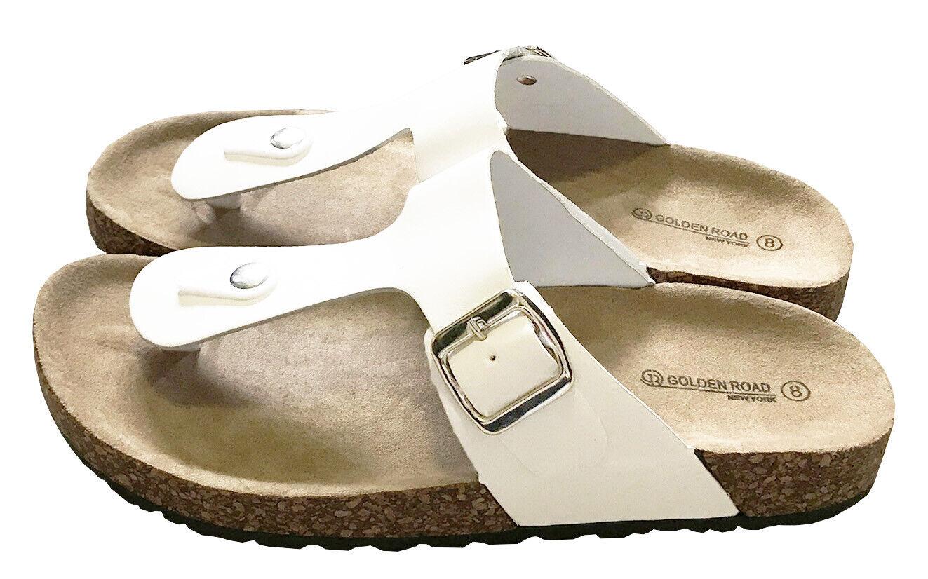 Women Buckle Sandals shoes Thong Flip Flops Flat T-Strap Beach Slipper White 8