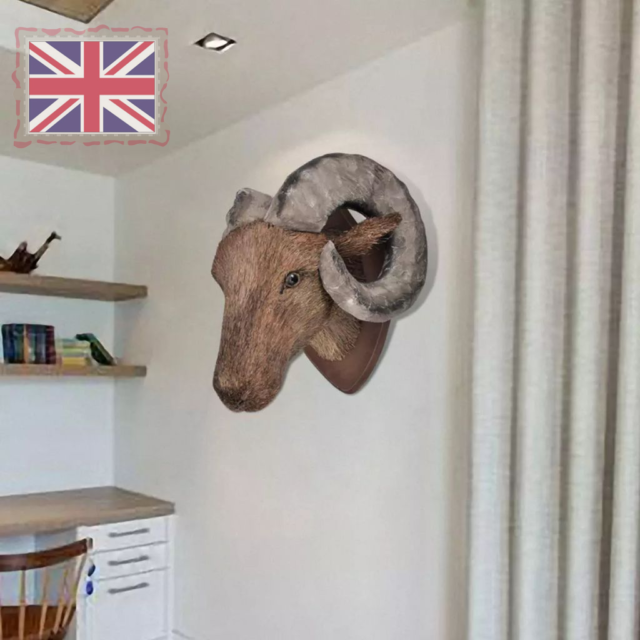 Wall Mounted Ram Head with Horns Art Wall Hanging Decoration Natural Looking