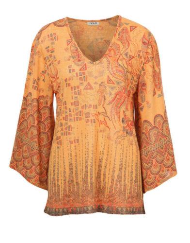 Ivko Lin Pull Tunique Linge Shirt Curry Safran Orange Bronze 191633