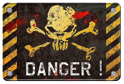 Panneau Danger Tete De Mort 15cmx10cm Zombie Autocollant Sticker Da149 Reliable Performance Badges, Insignes, Mascottes