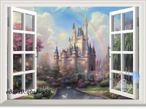 Image is loading Disney-Tinkerbell-Fairy-Castle-3D-Window-Wall-Decals- & Disney Tinkerbell Fairy Castle 3D Window Wall Decals Girl Stickers ...