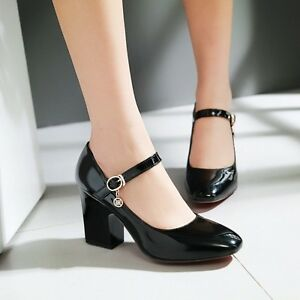 27d59d7cbe Details about Women s Retro Patent Leather Ankle Strap Block Heel Mary  Janes Pumps Shoes Size