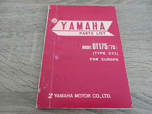 Yamaha-parts-list-spare-catalog-DT175-75-Type-CT1-Exploded-View-Drawings-Good