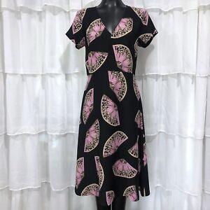 Size-6-NWOT-ANN-TAYLOR-Japanese-War-Fan-Print-Dress