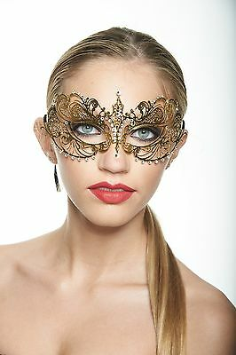 Elegant Gold Venetian Laser Cut Masquerade Mask BA001GD Mardi Gras Prom