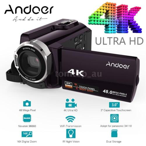 Andoer WiFi 4K HD 1080P 48MP 16X ZOOM Digital Video Camera DV Camcorder Recorder