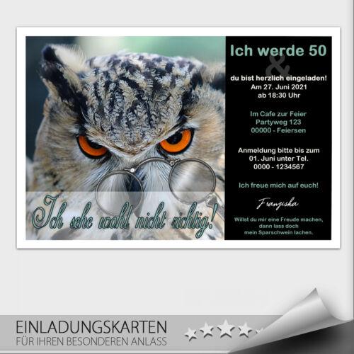 Einladungskarten Geburtstag Geburtstagseinladung Einladung ● Eule 20 30 40 50