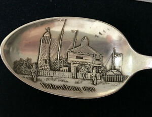 Vintage-Sterling-Silver-Ft-Dearborn-1830-Souvenir-Spoon-Free-Shipping