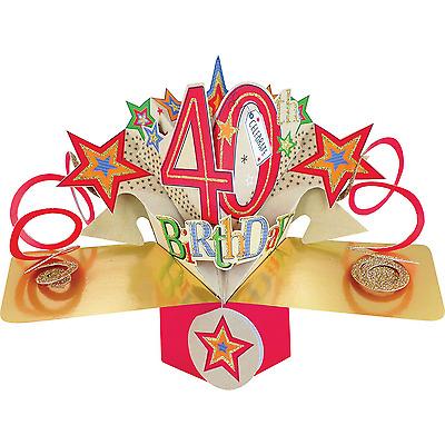 """17x23cm 40 Geburtstag Pop Up 3D Edle Grusskarte Aufschrift /""""Happy Birthday/"""" Gr"""