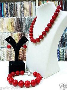 Handmade-12mm-Red-South-Sea-Shell-Pearl-Necklace-Bracelet-Earrings-A-Set-AAA