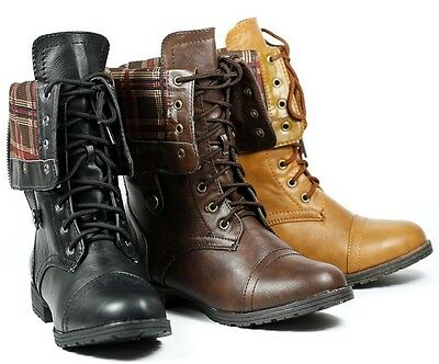 Faux Leather Fold Down Plaid Mid-Calf Lace-Up Military Combat Boots Kiss /& Tell