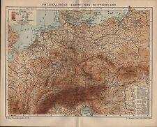 Landkarte map 1901: PHYSIKALISCHE KARTE VON DEUTSCHLAND.