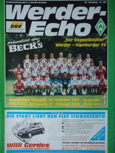 Hamburger SV Programm 1993//94 SV Werder Bremen BL + Pokal
