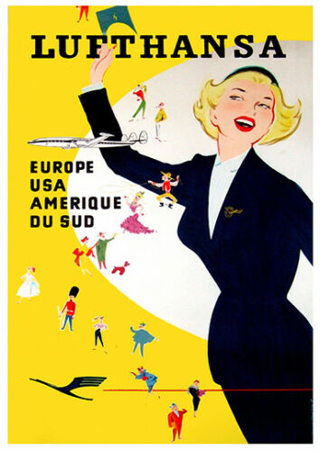 Vintage AirlineTravel Poster reproduction. Lufthansa