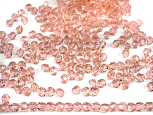 pink loose 300 Preciosa Czech Glass Fire Polished Round Beads 6mm Light Rose