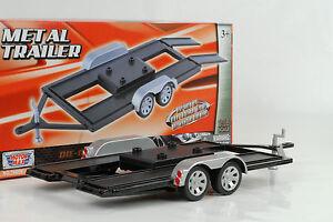 Car-Trailer-Anhaenger-silver-black-silber-schwarz-1-18-Motormax-ohne-Auto