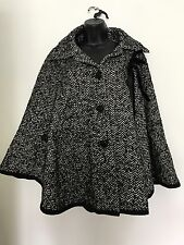 Per Una Black And White Zig Zag Pattern Wool Blend Cape Coat One Size