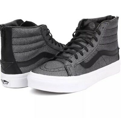 New Vans SK8 Hi Slim Zip Black gray Men's 7 women 8.5 embossed leather sneakers!