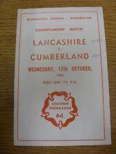 12/10/1966 Rugby League Programme: Lancashire v Cumberland [At Warrington] (scor