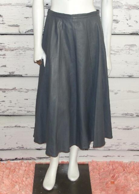 GRAY~LEATHER~VINTAGE~FULL-LENGTH EQUESTRIAN SKIRT~SMALL (4-6)~RARE & HTF