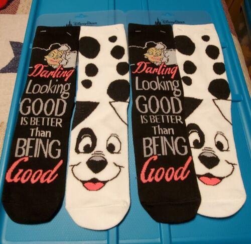Disney Parks 101 Dalmatians Cruella de Vil and Patch Adult Socks 2 Pair NWT