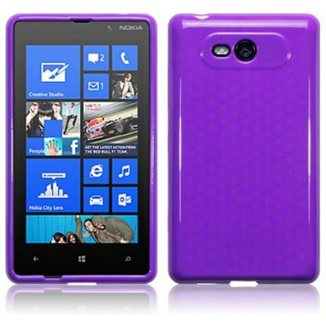 new style c414a 6529b Nokia LUMIA 820 Slim TPU GEL Silicone Skin Case Cover Solid Purple