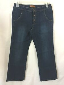 Lee-Jeans-womens-size-7-8-P-petite-Dark-wash-snap-fly-One-True-Fit-32-x-29