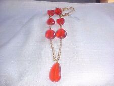KENNETH JAY LANE Chunky Lucite Bead Necklace with Drop Pendant  NIB