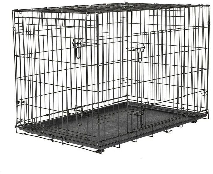 Large Wire Dog Crate Kennel Collapsible Design Easy Storage Transport Two Doors