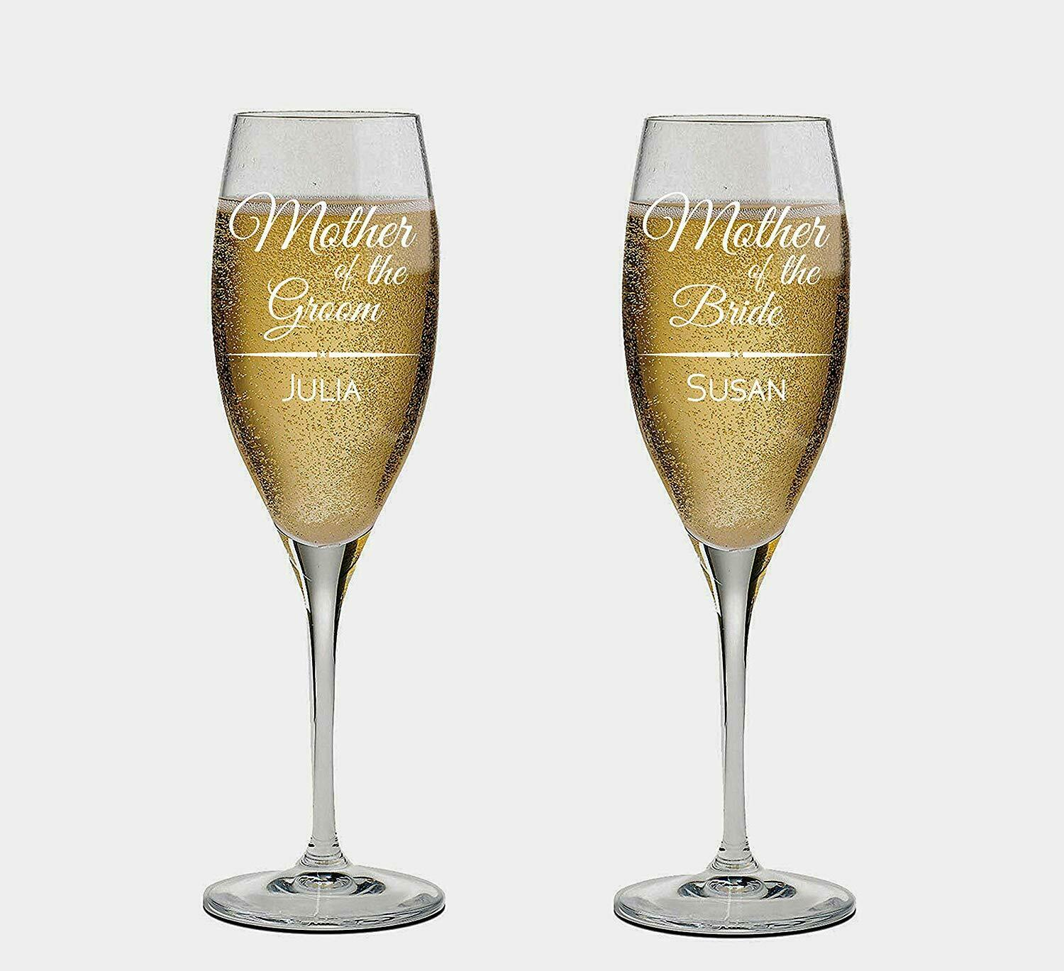 Maid of Honor and Matron of honor names Personalized set of 2 Champagne Glass