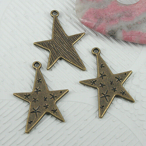 10pcs antiqued bronze color star design charms EF0771