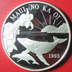 1993-HAWAII-MAUI-1-TRADE-DOLLAR-1oz-SILVER-PROOF-WHALE-FLOWERS-SUN-VOLCANO-RARE