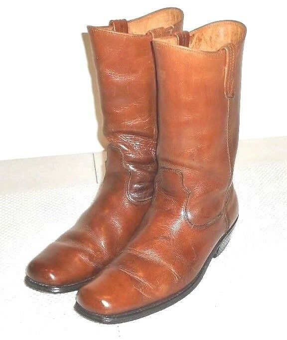 Brown Leather Vintage Men's Distressed Western Work Farm Boot  9 D