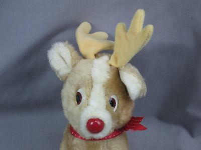 VINTAGE RUSS BERRIE  PLUSH CHRISTMAS ROSCOE REINDEER TOY STUFFED ANIMAL RED NOSE
