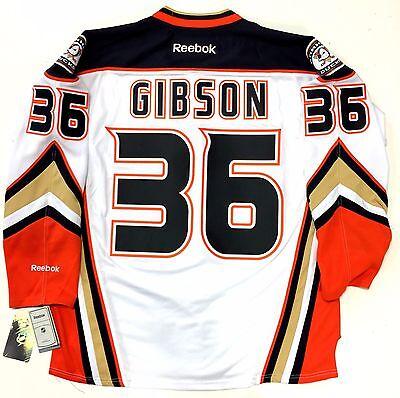 best website 7c037 58bdd JOHN GIBSON ANAHEIM DUCKS REEBOK NHL PREMIER WHITE JERSEY NEW WITH TAGS |  eBay