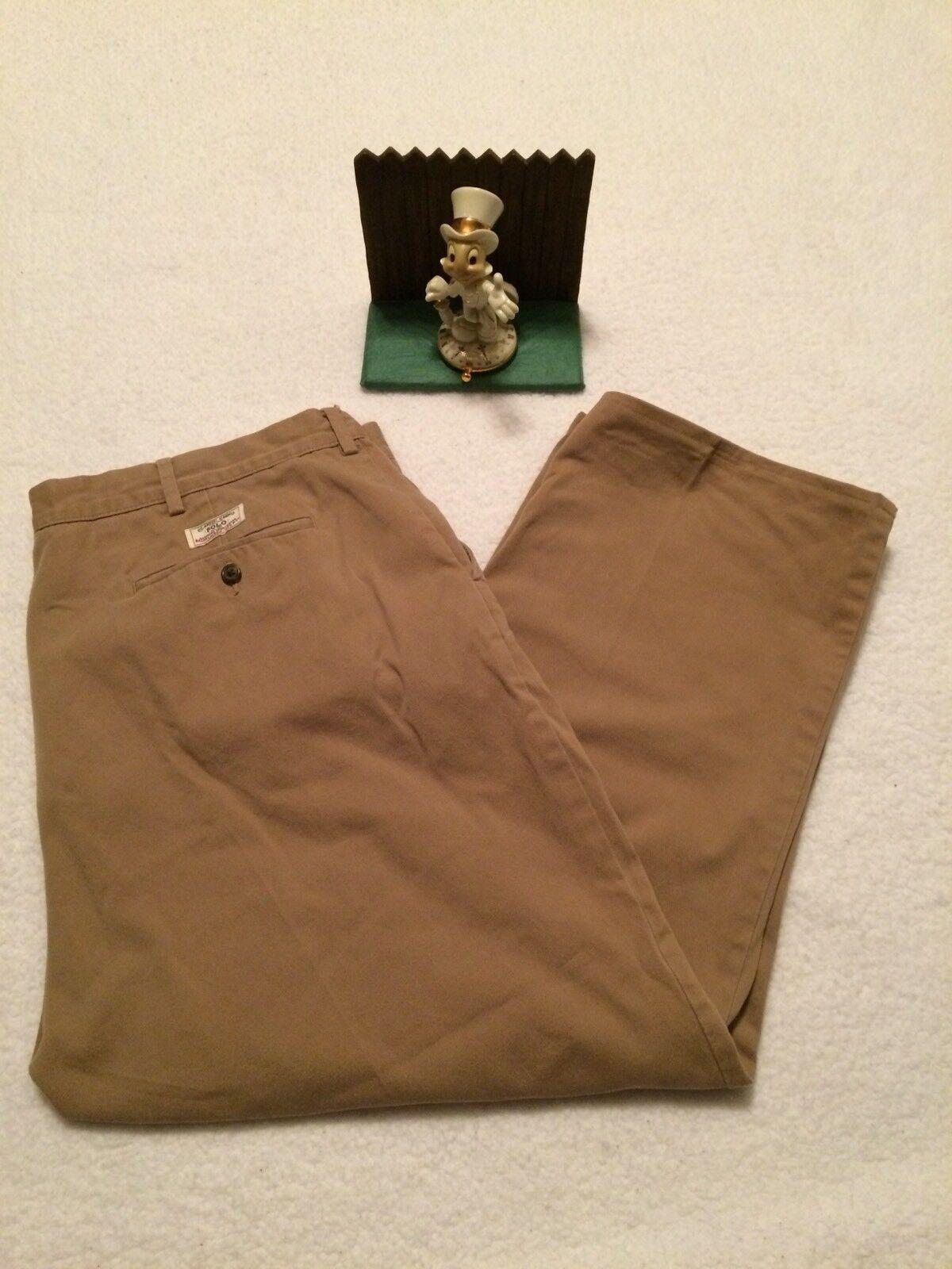 RALPH LAUREN POLO BEIGE FLAT FRONT HEMED DRESS PANTS 40X26 MENS
