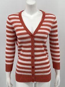 Talbots-Women-039-s-Cardigan-Sweater-XS-Orange-White-Stripe-100-Linen-Button-Front