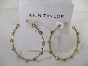 14964d7ce40e Ann Taylor Large Round Multi Color Crystal Hoop Earrings NWT  39.50 ...