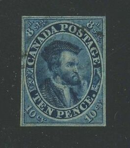 Canada-1855-Jacques-Cartier-10d-blue-7-VF-used